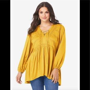 Sunset Yellow Lace Peasant Top